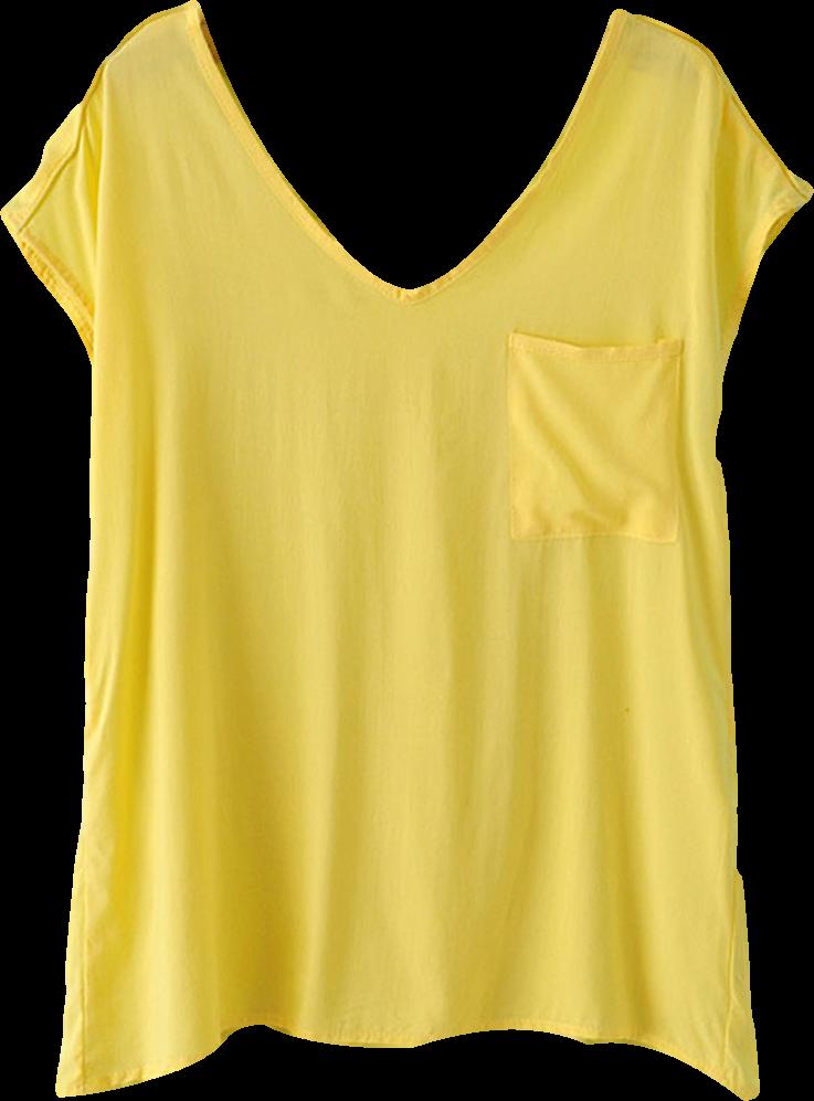 Yellow V Neck Basic Blouse