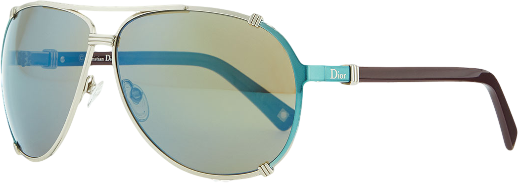 Metal Aviator Sunglasses with Enamel, Gold/Blue