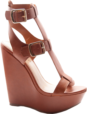 In Luck Two Buckle T-Strap Platform Wedge Sandals - Tan