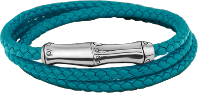 Turquoise Leather Triple Wrap Bracelet with Magnetic Clasp. All in Sterling Silver.
