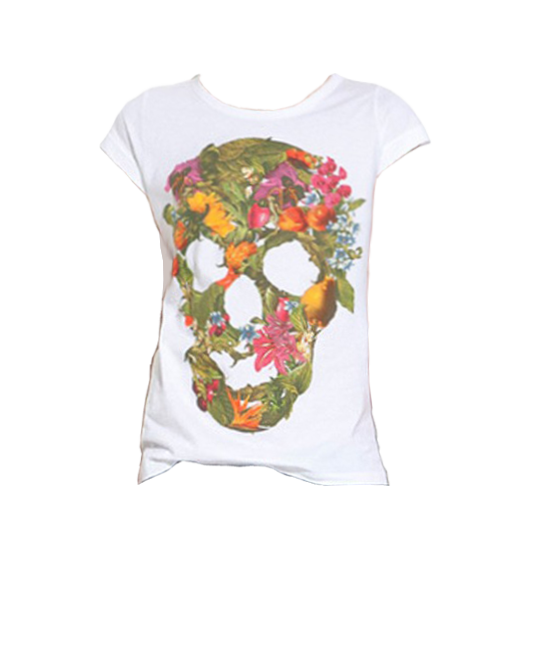 Flower Pattern Colorful Skull Print White T-shirt