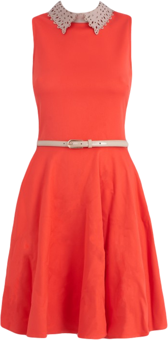 ALMARI Coral Laser Collar Dress