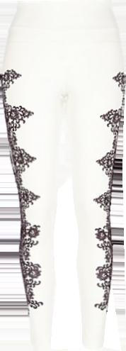 White scuba lace side print leggings
