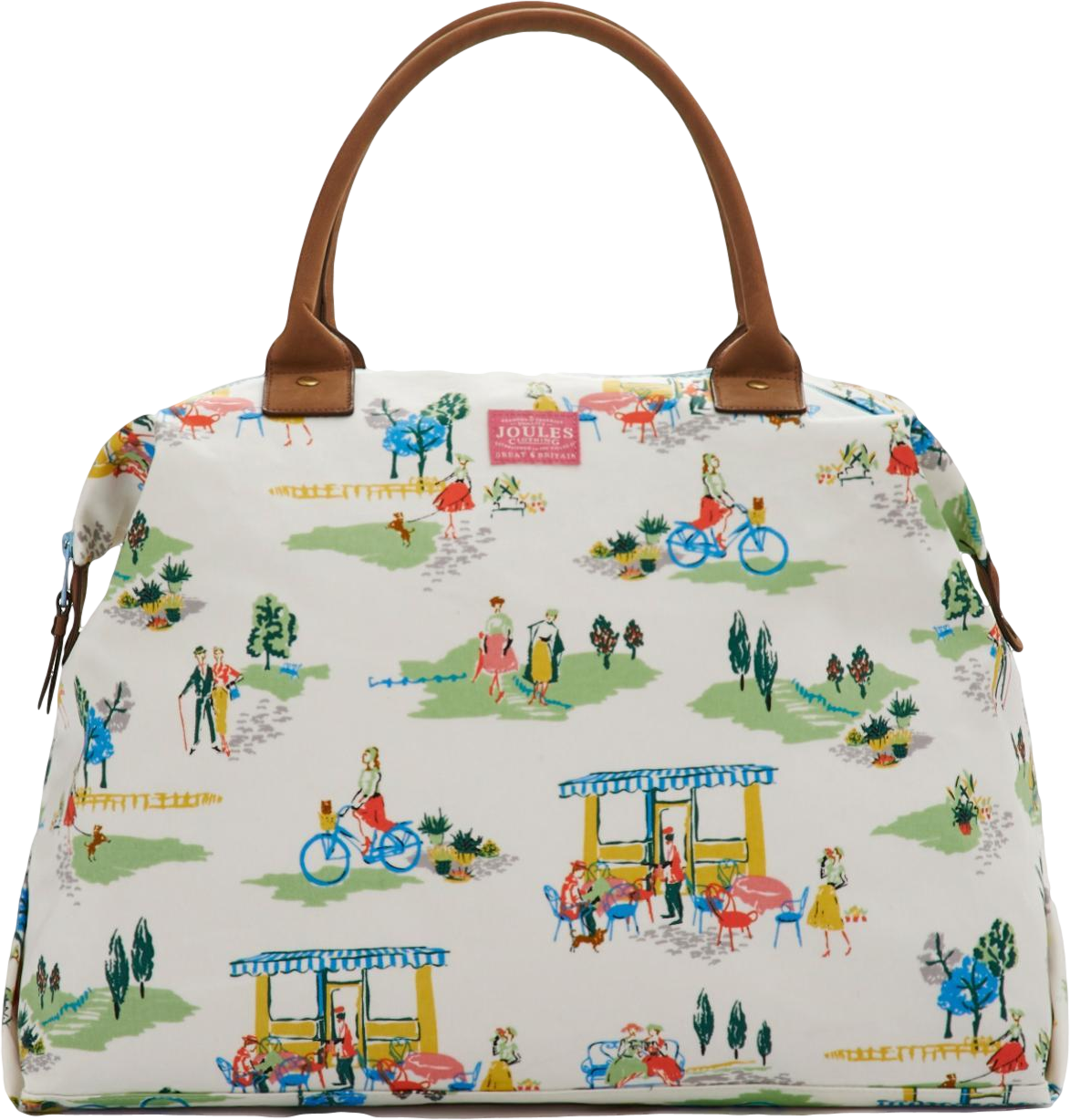 Womens Canvas Stop over bag, Creme Cafe Print