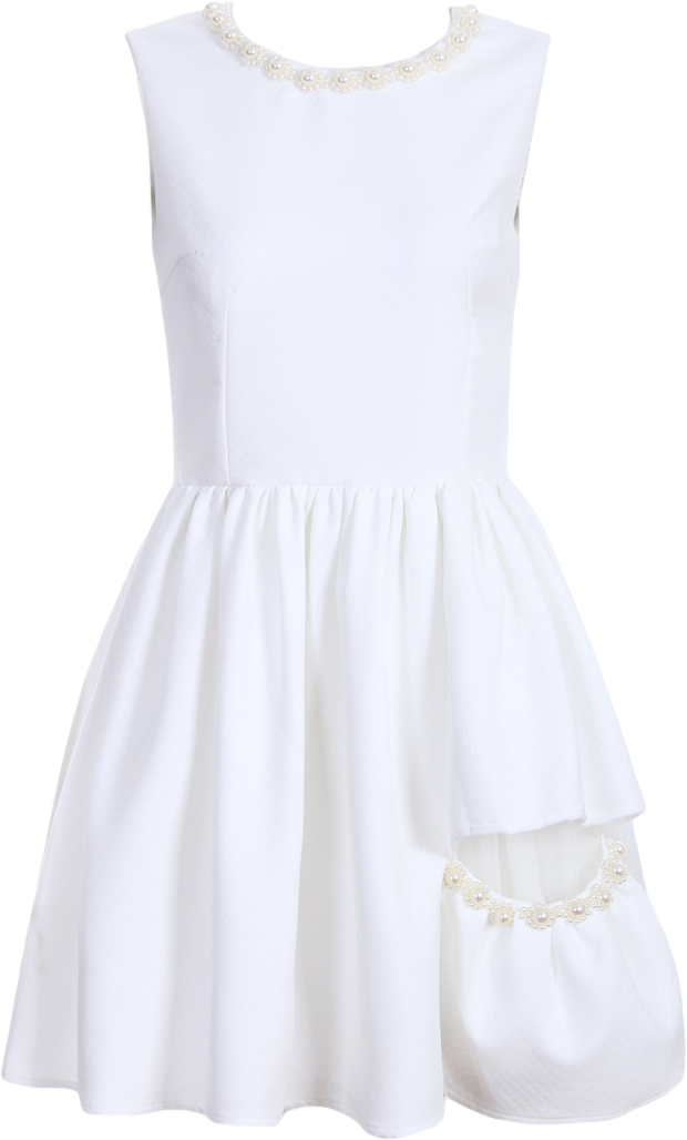 White Texture Skater Dress with Pearls Embellished Details