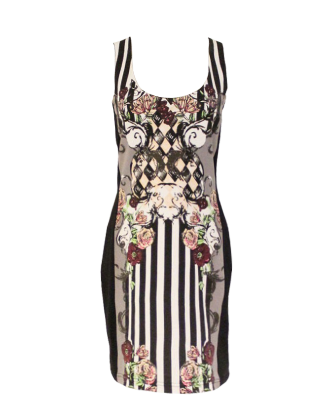 Floral and Striped Bodycon Tank Dress