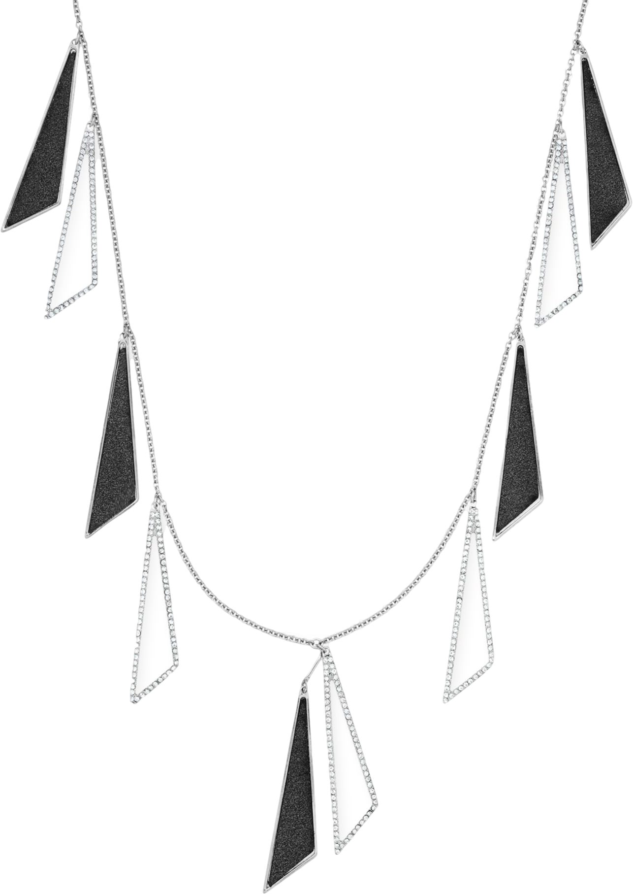ABS by Allen Schwartz Silver-Tone Triangle Drop Scatter Station Necklace