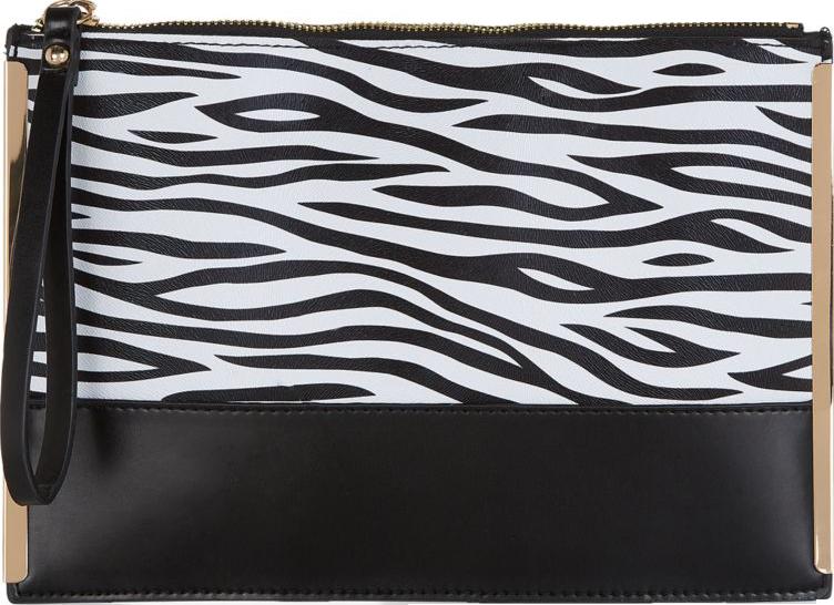Monochrome Zebra Print Contrast Metal Trim Clutch