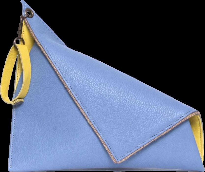 Light Blue Asymmetric Clutch Bag