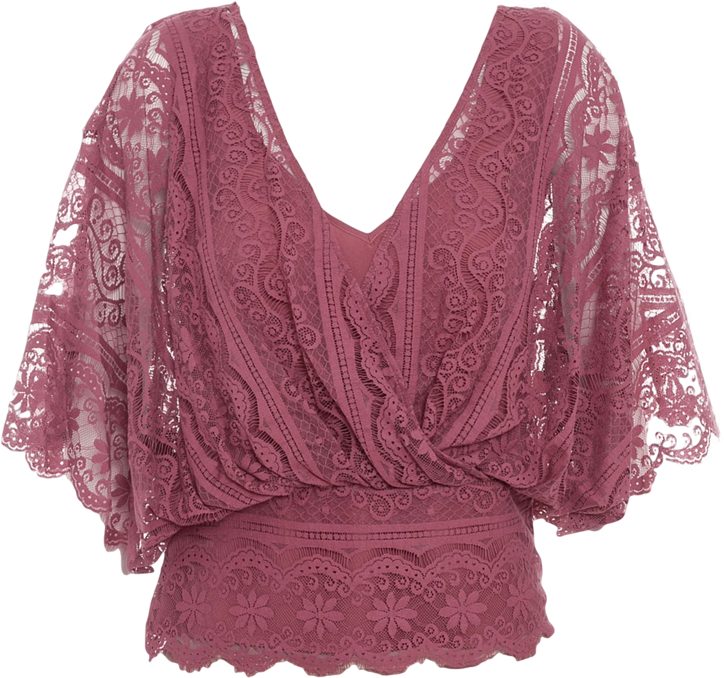 Lace Top in raspberry-red