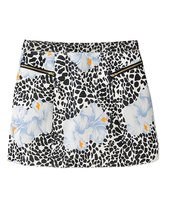 Retro Style Flower Print Skirt With Black Spots
