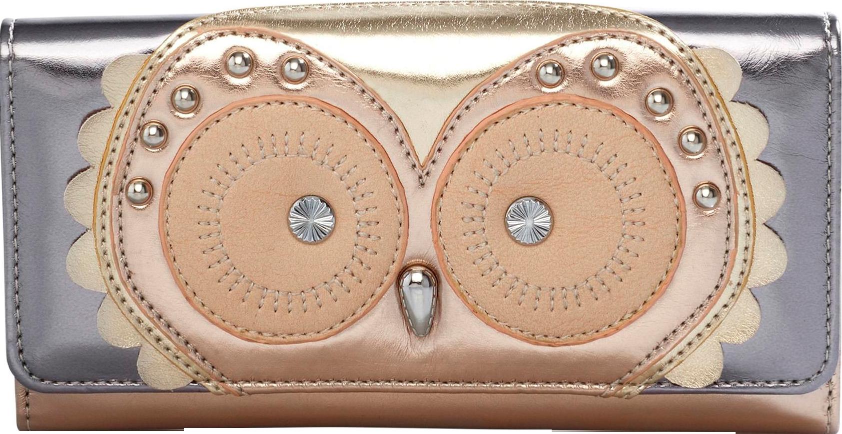 Metallic Owl Fold Top Purse
