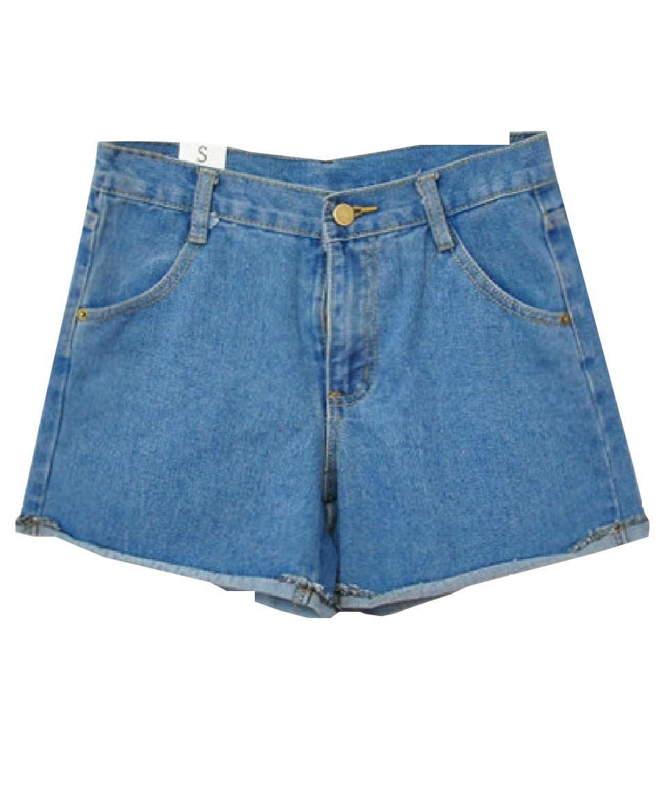 Retro Style High Waist Denim Shorts With Rolled Hem