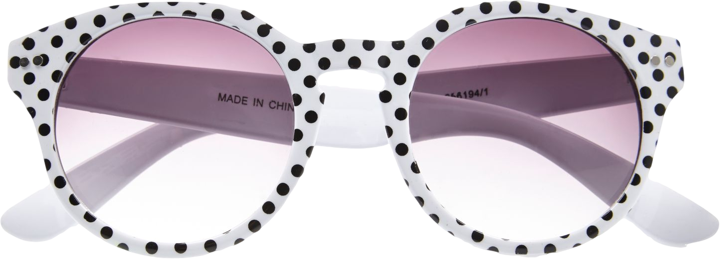 White polka dot round sunglasses