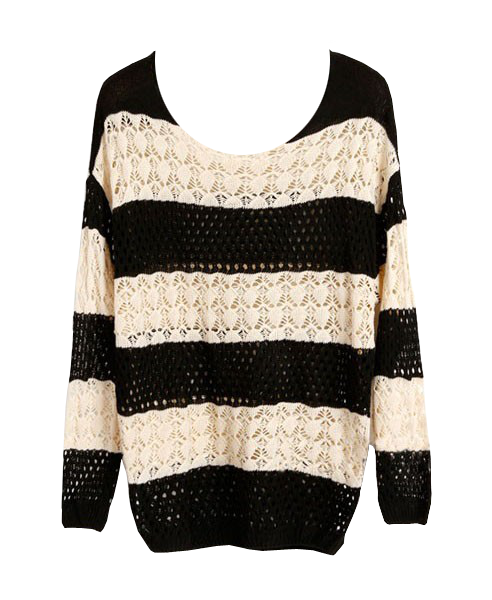 Striped Crochet Batwing Sweater