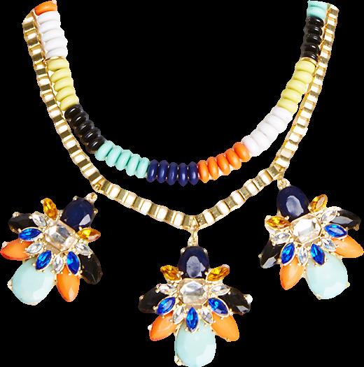 DAILYLOOK Vibrant Beaded Stone Necklace