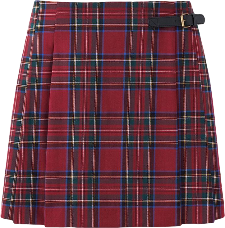 WOMEN Wool Blended Check Skirt