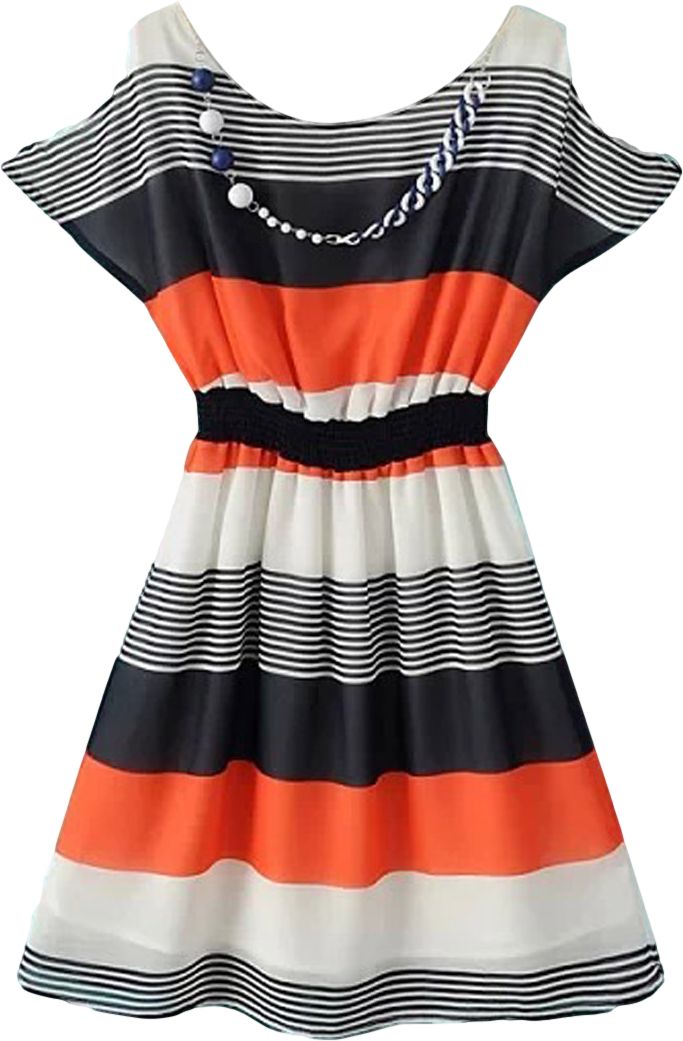 Orange and Blue Stripe Dress with Elastic Waist and Cut Out Shoulder