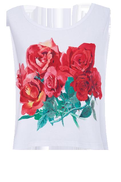 ROMWE Roses Print Sleeveless White Vest