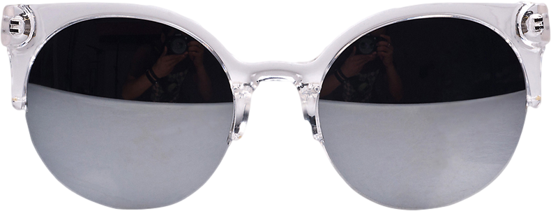 Silvery Half Frame Round Sunglasses with Mirror Lens