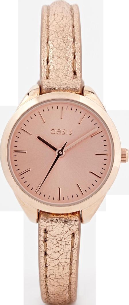 Oasis Metallic Rose Gold Strap Watch