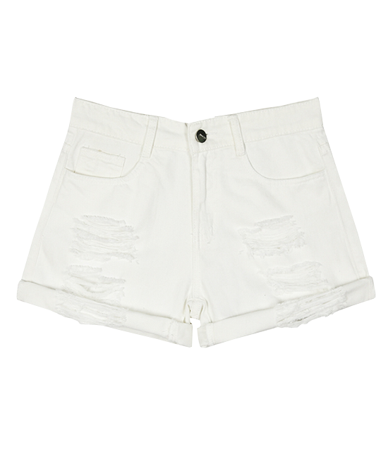White Korean BF Style Loose Fit Ripped Denim Shorts