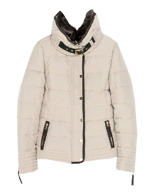 Stand Fur Collar Zipped Down Coat
