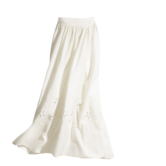 Hollow Out Cotton Long Skirt