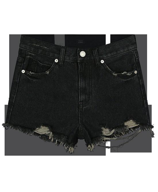 Black Korean Retro Casual Style Ripped Denim Shorts