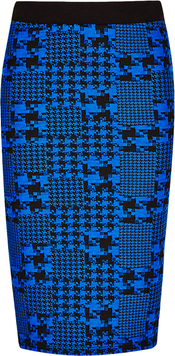 Textured Jacquard Column Bodycon Skirt