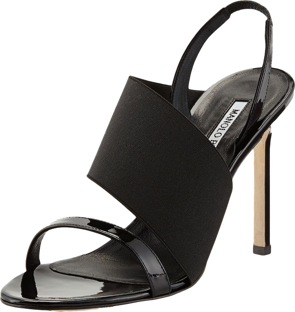 Petto Patent Crossover Sandal, Black