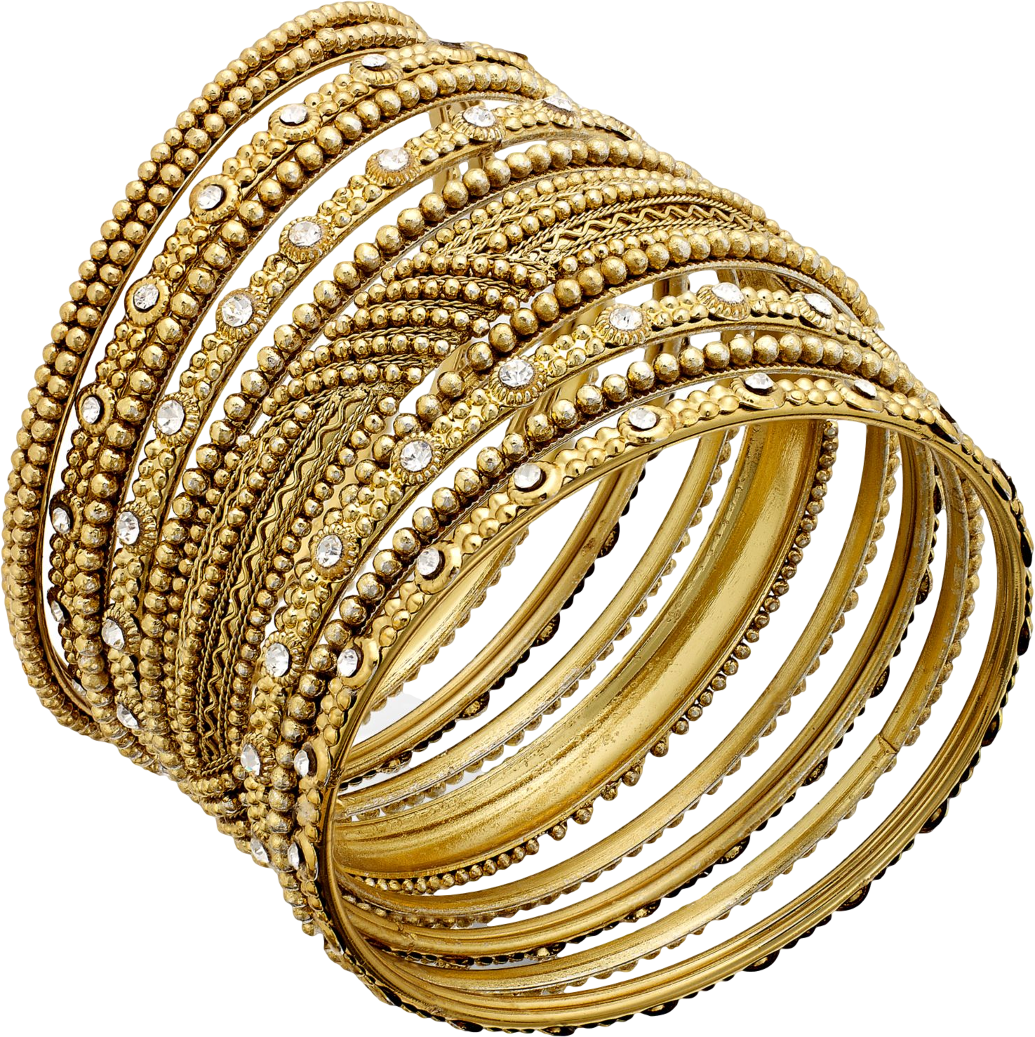 Bar III Gold-Tone Crystal-Accented Textured Bangle Bracelet Set