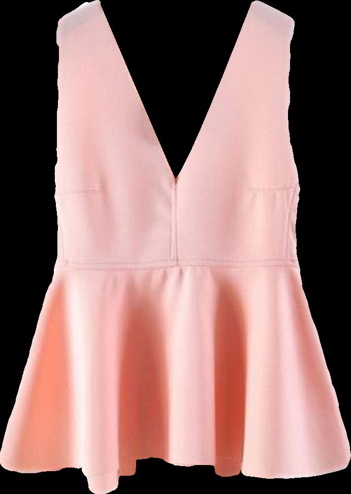 Pink Low Cut Peplum Blouse