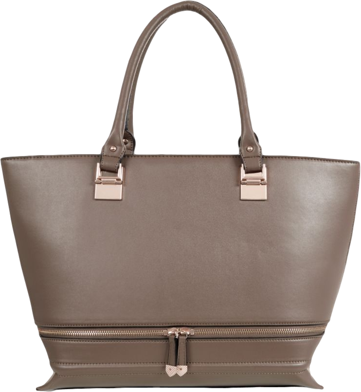 Khaki Double Zip Tote Bag