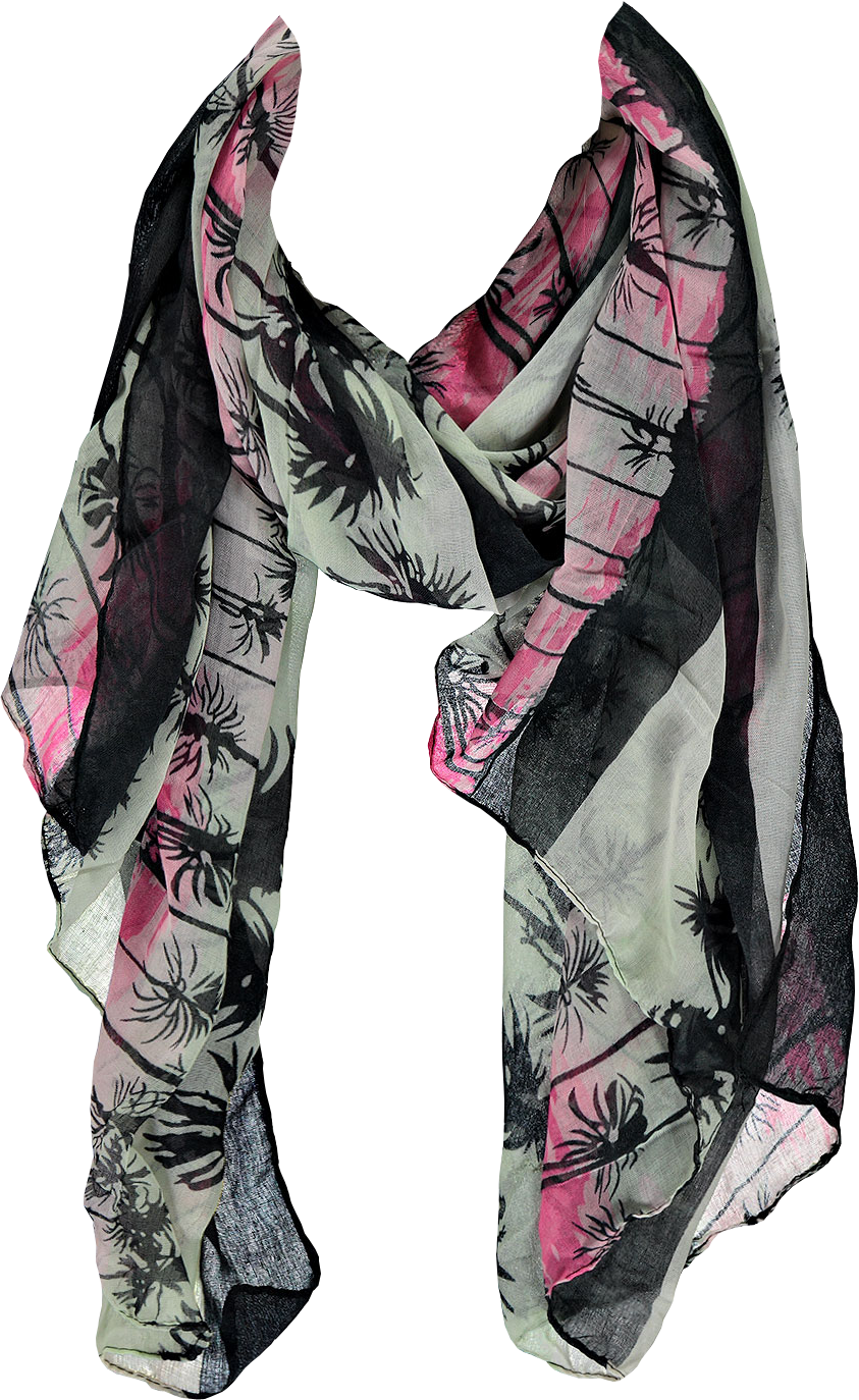 Rose Tropical And Floral Print Scarf