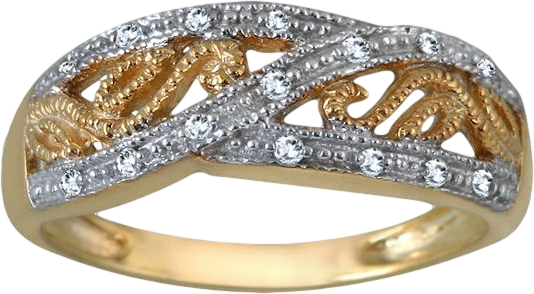 Yellow Gold Plated Diamond Antique Ring in .925 Sterling Silver