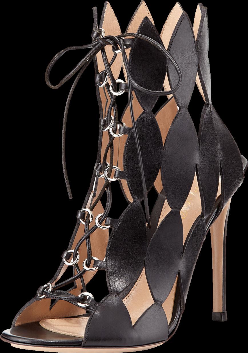 Diamond Cutout Lace-Up Sandal, Nero