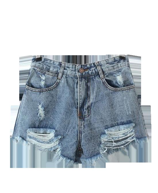 Flipped Denim Shorts