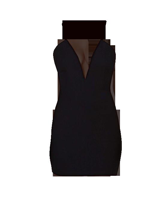 Deep V-neck Backless Black Strap Dress