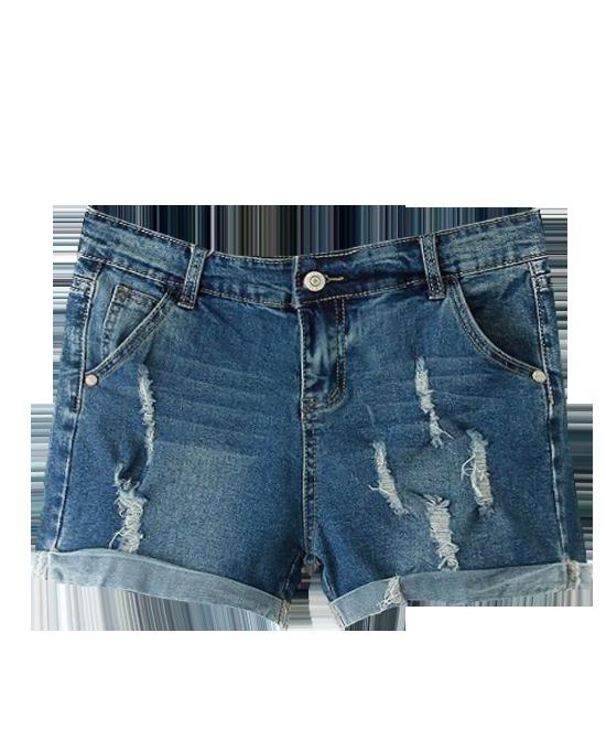 Ripped Blue Denim Shorts