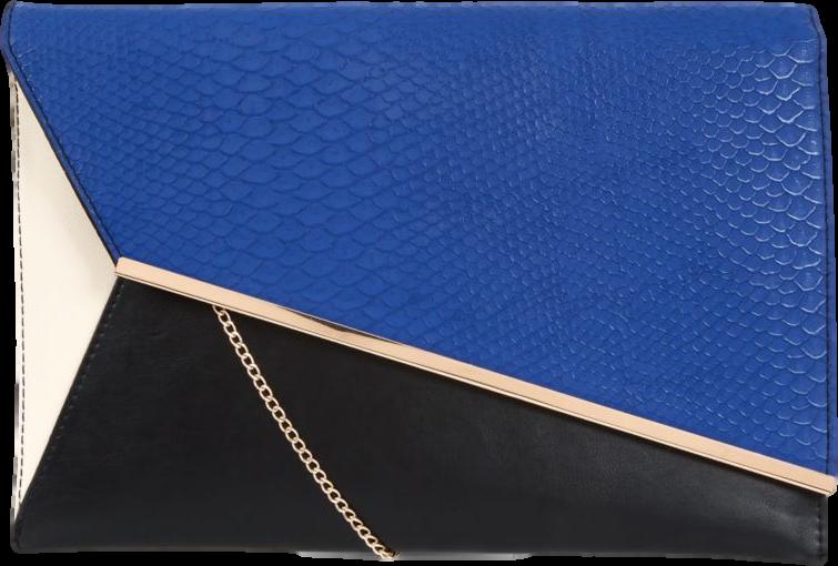 Dark Blue Crocodile Panel Asymmetric Colour Block Clutch