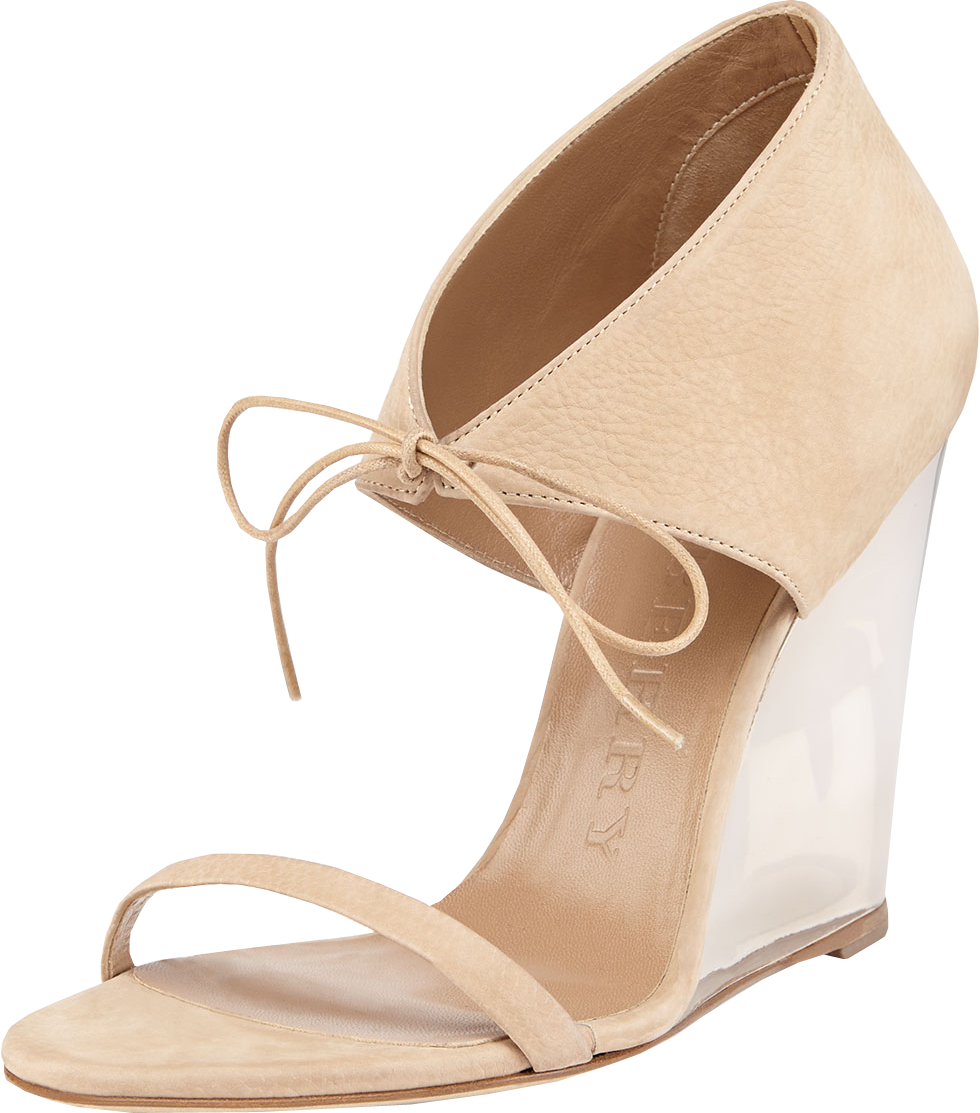 Ankle-Wrap Wedge Sandal, Stone