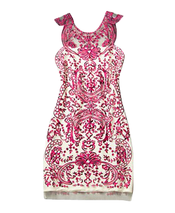Vintage Style Contrast Color Embroidered Dress