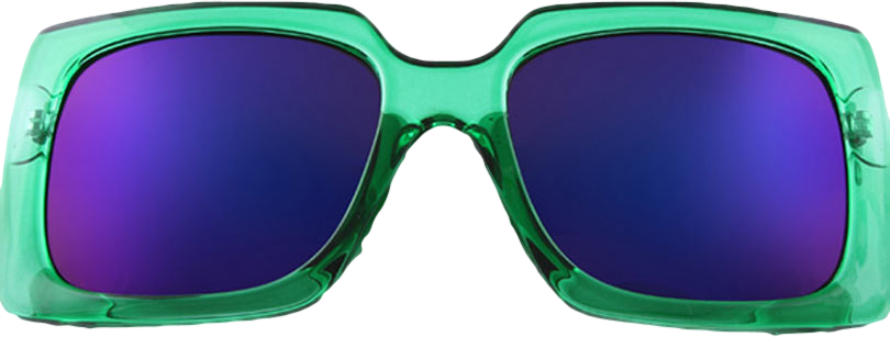 Green Square Sunglasses With Mirrored Lense