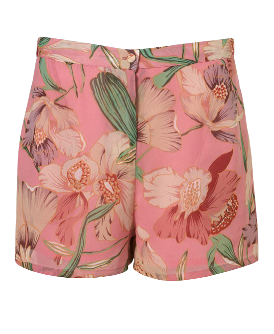 Low Waist Floral Print Chiffon Shorts