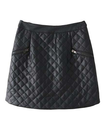 PU Leather Quilted Mini Skirt