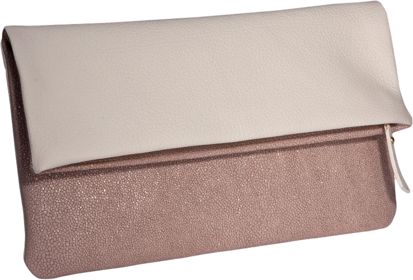 Reversible Fold-Over Clutch  Pearl Shagreen