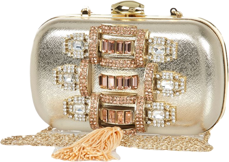 Gold embellished tassel box clutch bag