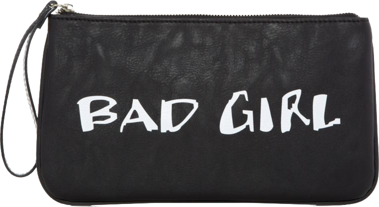 Monochrome Good Girl Bad Girl Slogan Clutch