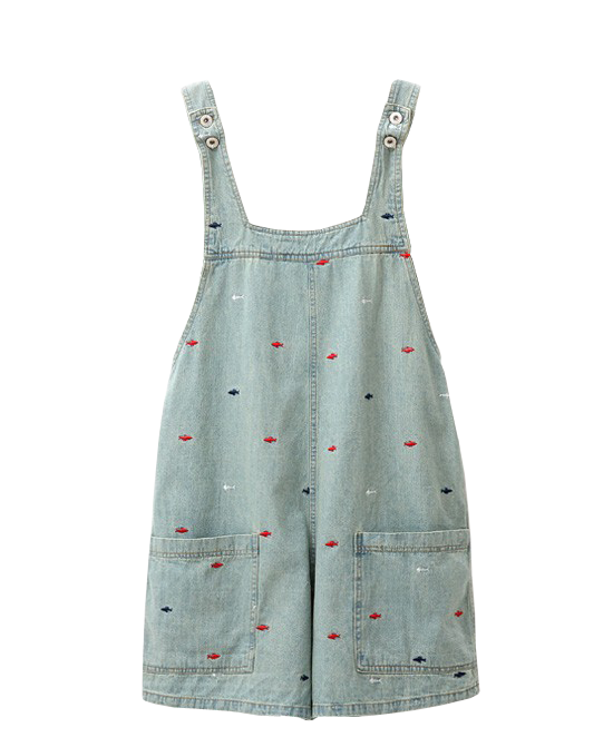 Embroidery Loose Fit Denim Overall